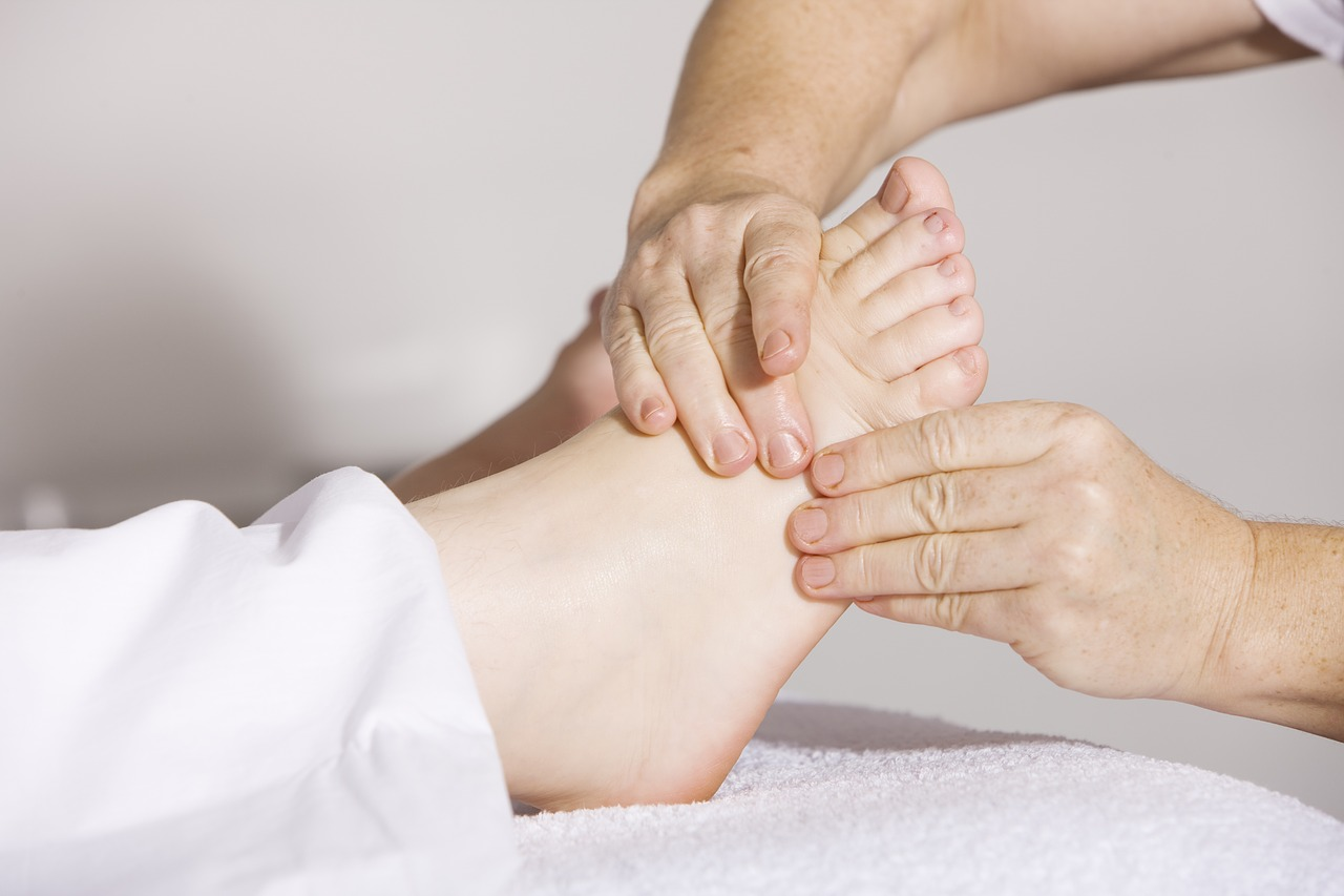 Person receiving a foot massage